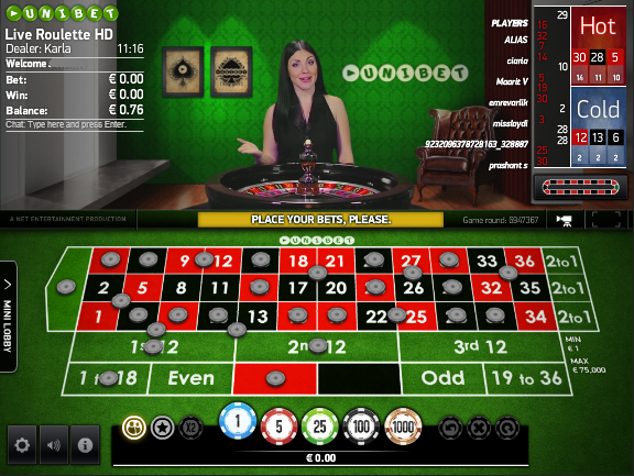 Unibet live dealer Roulette