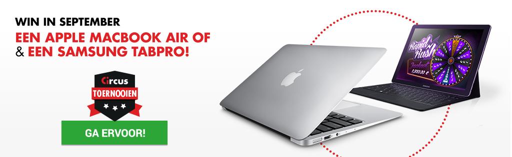 Maak kans op een MacBook Air of een Samsung TabPro S bij Circus.be