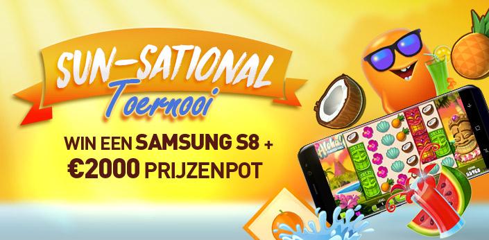 Sun-Sational Toernooi - Win een Samsung S8, cash prijzen of gratis spins
