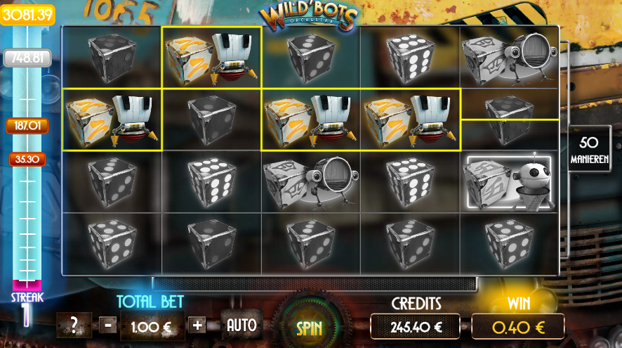 Wild Bots Orchestra Dice Slot juiste uitbetaling